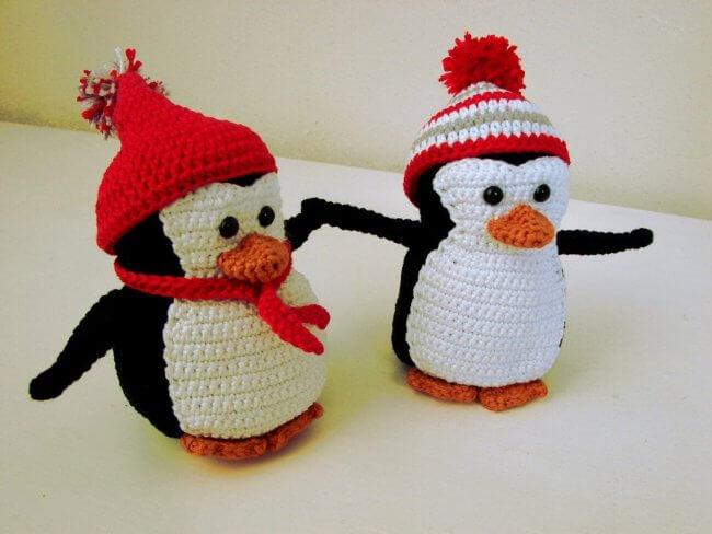 Penguin and sled crochet pattern winter amigurumi animal