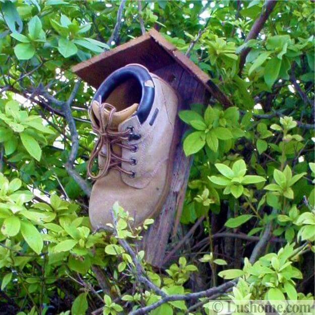 Recycling Boots for Original Birdhouses