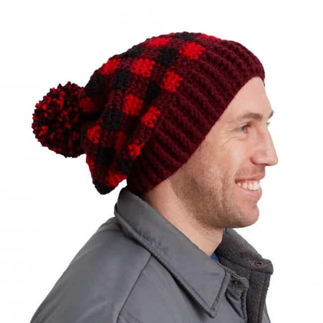Red Heart Buffalo Plaid Crochet Hat For Him