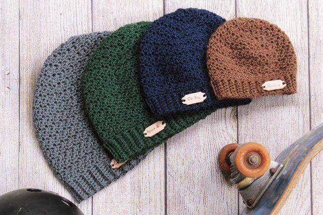 Ripple Beanie – a crochet hat pattern for men
