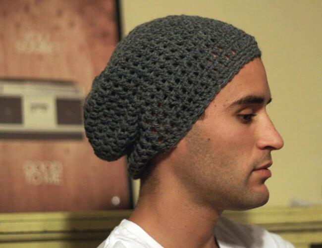 Simple Men's Slouchy Beanie Crochet