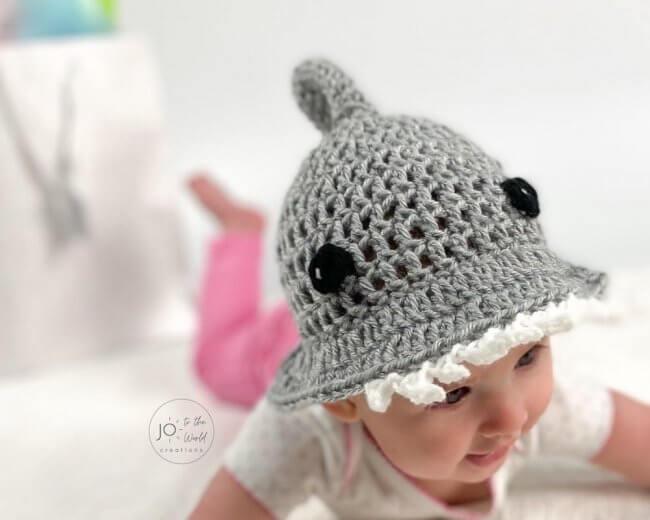 Baby Shark Sun Hat Crochet Pattern