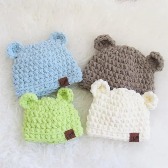 Crochet Baby Hat in 4 Sizes with Video, Teddy Hats