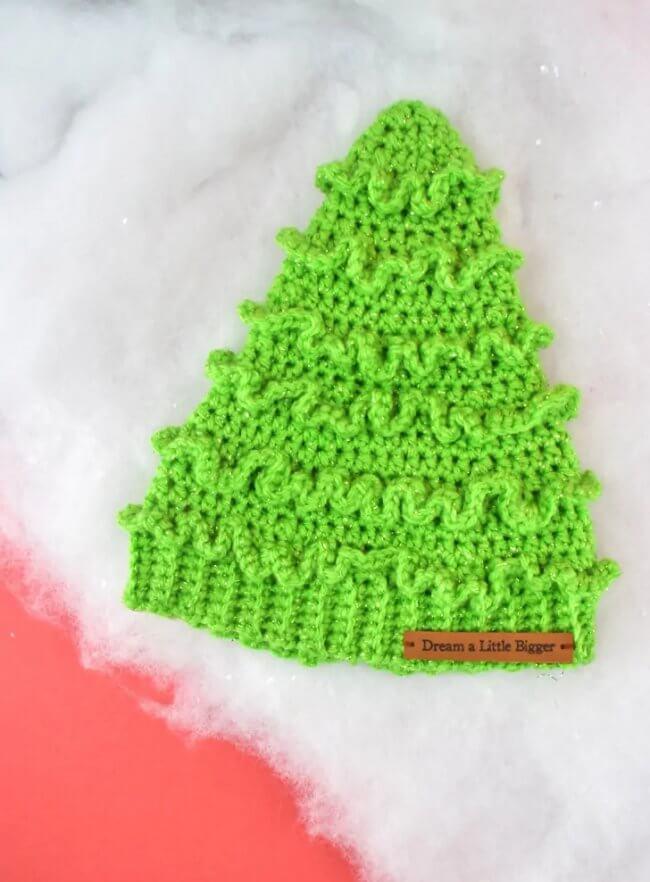 Crochet Christmas Tree Hats Pattern for Toddlers & Kids
