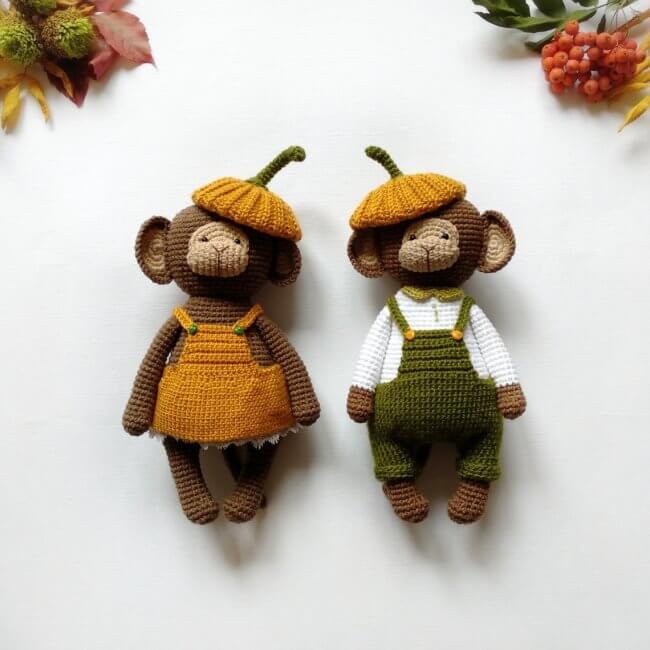Pumpkin crochet monkey toy pattern