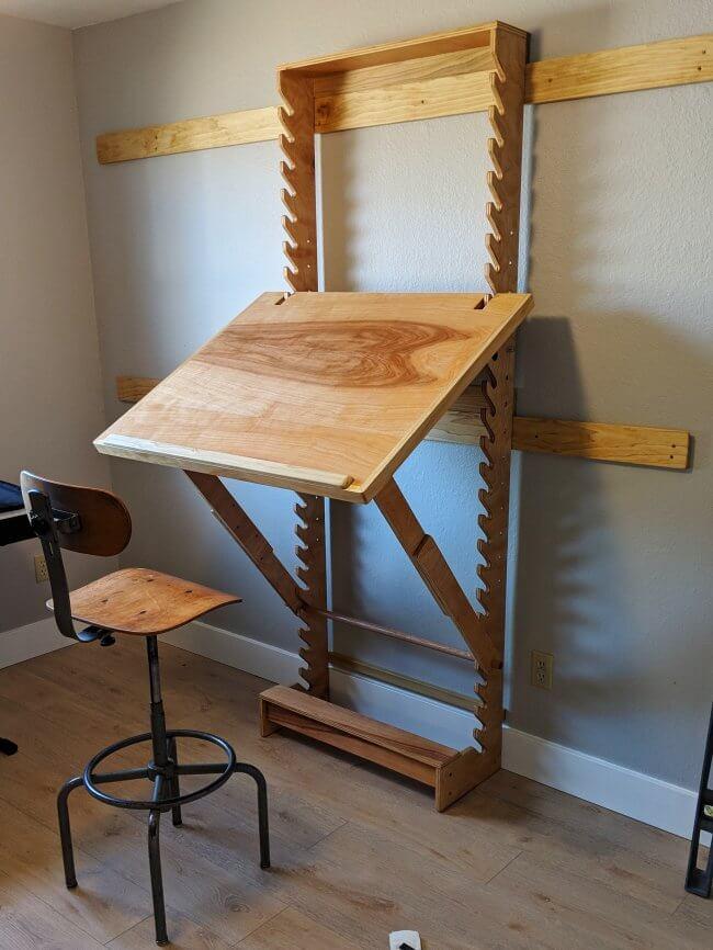 DIY Art Desk with adjustable height and angle