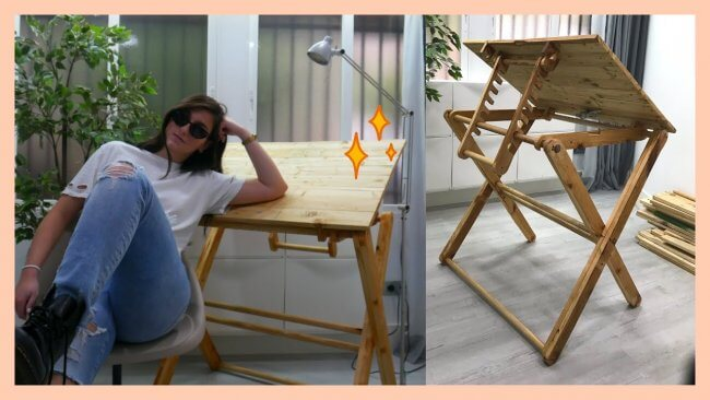 DIY Drafting Table, Foldable Table, With Adjustable Angles
