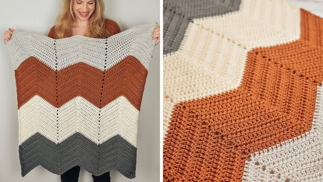 Easy Crochet Chevron Baby Blanket