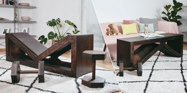 Two-in-one: Build your own weight bench that you can also use as a coffee table